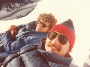 Mark (r) hiking at the base of Mt. Rainier, WA #1 (1978) - Mark D. Jones