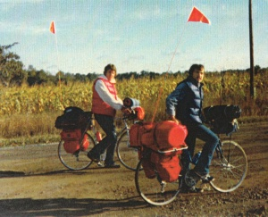 Bruce (l) and Mark (r) day one, zero miles, at the start of our 8.000 Mile U.S. Bicycle Adventure (Sept 22, 1976) - Mark D. Jones