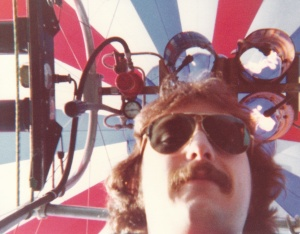Mark on tether in a hot air balloon in the Seattle area (1978) - Mark D. Jones