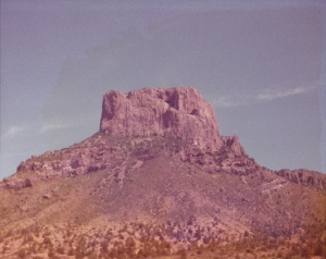 Casa Grande (A mountain we climbed), Big Bend National Park (1977) (Damaged Photo) by Mark D. Jones