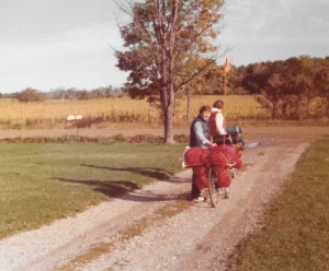 Mark (l) and Bruce (r) at the start of our 8,000 Mile U.S. Bicycle Adventure (Sept 22, 1976) - Mark D. Jones