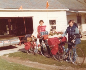 Bruce (l) and Mark (r) September 22, 1976 at the start of our 8,000 mile U.S. Bicycle Adventure near Flint, MI - Mark D. Jones