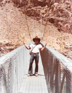 Mark on the bridge crossing the Colorado River in the Grand Canyon (1978) - Mark D. Jones