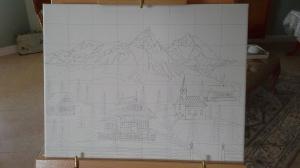 "My Artwork-in-Progress ~ Alpine Hamlet (11"" x 14"") (Copyright 2016, Mark D. Jones, All Rights Reserved)"