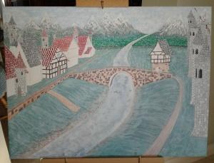 "My Original Artwork-in-Progress ~ Castle Hamlet (18"" x 24"") ~ (Copyright 2016, Mark D. Jones, All Rights Reserved)"