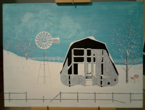 "'Barn in Winter' (18"" x 24"") 1979 - (Copyright 1979, Mark D. Jones, All Rights Reserved)"