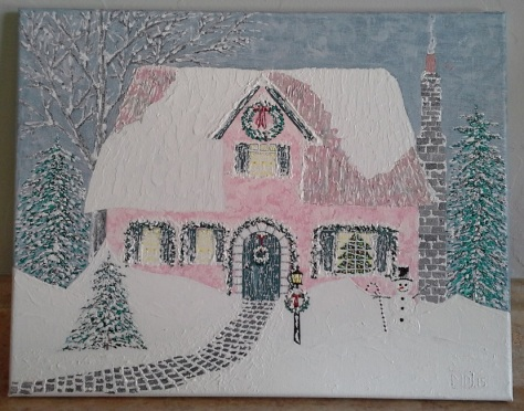 """'Christmas Cottage' (11"""" x 14"""") 2015 - (Copyright 2015, Mark D. Jones, All Rights Reserved)"""