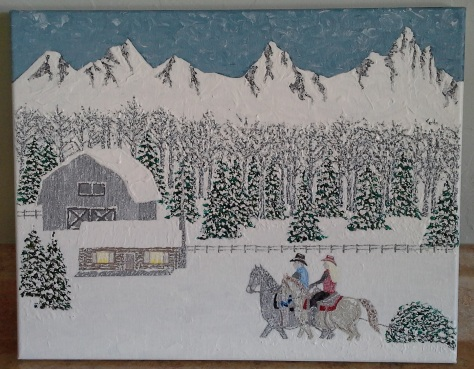 """'Montana Christmas' (11"""" x 24"""") 2015 - (Copyright 2015, Mark D. Jones, All Rights Reserved)"""