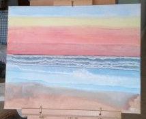 "'Ocean Sunset' (16"" x 20"") 2017 - (Copyright 2017, Mark D. Jones, All Rights Reserved)"